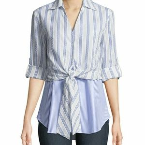 1bd48599 Finley Timmons Layered Tie-Front Twofer Shirt S